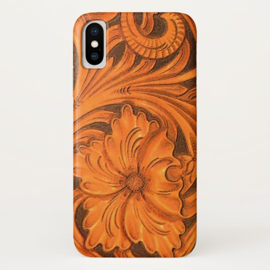 Faux Floral Tooled Leather Saddle iPhone X Case