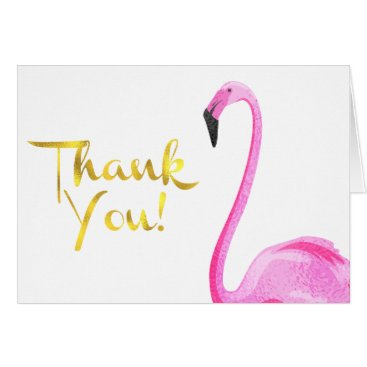 Valentines Themed Faux Foil, Flamingo, Thank You Cards