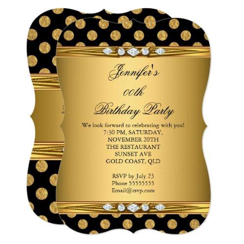 Faux Foil Gold Black Polka Dots Diamond Birthday Invitation