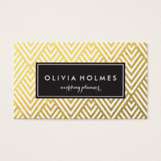 Faux Foil Gold Chevron Pattern Business Card at Zazzle