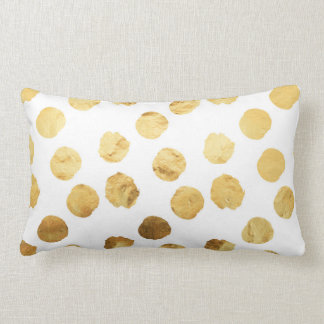 Faux Foil Gold Dots Pattern Background Dot Texture Lumbar Pillow