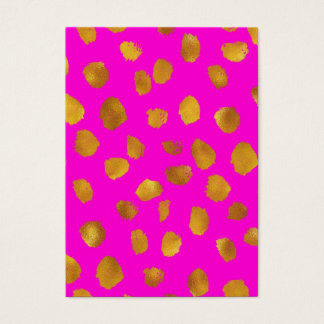 Faux Foil Gold Dots Pattern Hot Pink Background Business Card