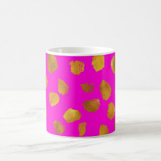 Faux Foil Gold Dots Pattern Hot Pink Background Coffee Mug