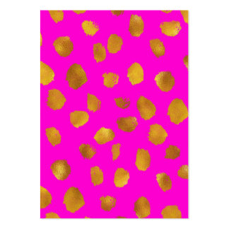 Faux Foil Gold Dots Pattern Hot Pink Background Large Business Card