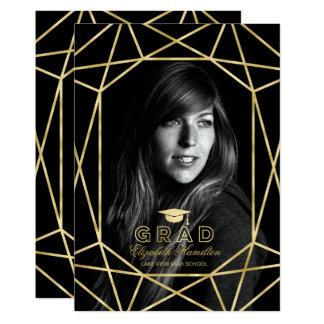 Faux Foil Gold Gem Graduation Party Photo Card