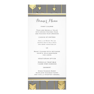 Faux Foil Golden Arrows Gray Slim Dinner Menu