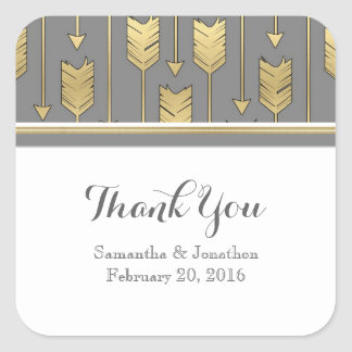 Faux Foil Golden Arrows Gray Wedding Thank You Square Sticker