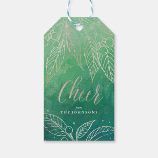 Faux Foil Holiday Leaves Silver-Holiday Gift Tags