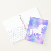 Faux Foil Personalized White Unicorn Silhouette Notebook