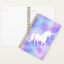 Faux Foil Personalized White Unicorn Silhouette Planner