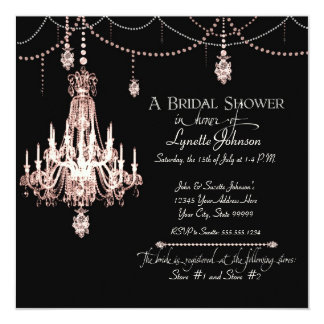 FAUX French Crystal Chandelier Draped Pearls Party Card