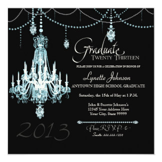FAUX French Crystal Chandelier Draped Pearls Party Personalized Announcements
