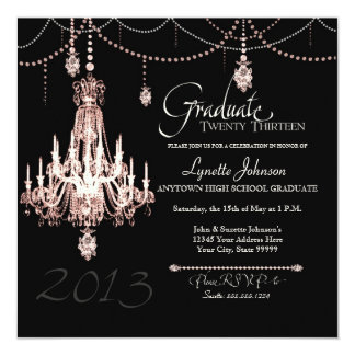 FAUX French Crystal Chandelier Draped Pearls Party Announcement