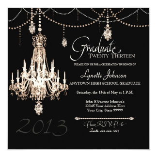 FAUX French Crystal Chandelier Draped Pearls Party Announcements