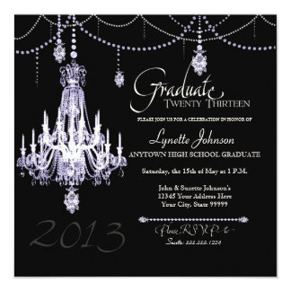 FAUX French Crystal Chandelier Draped Pearls Party Custom Invites