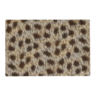 Faux Fur Fabric Pattern, Brown & Beige Fake Fur Placemat