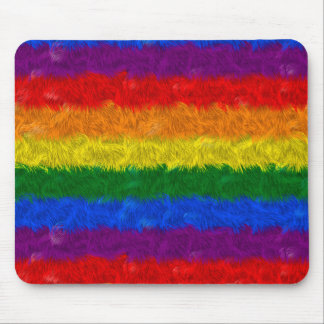 Faux Furry Rainbow Mouse Pad