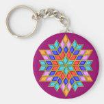 Faux Gemstone Star Quilt Basic Round Button Keychain
