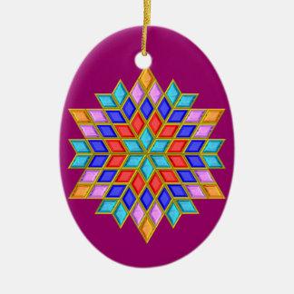 Faux Gemstone Star Quilt Ceramic Ornament