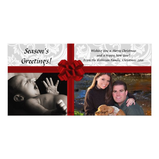 Faux Gift Bow, 2-Photo Christmas Photocard Card