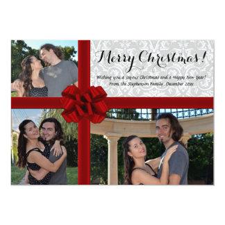 "Faux Gift Box Bow, 3 Photo Christmas Card 5"" X 7"" Invitation Card"