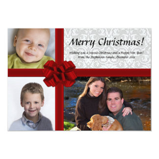"Faux Gift Box Bow, 3 Photo Christmas Card 5"" X 7"" Invitation Card"