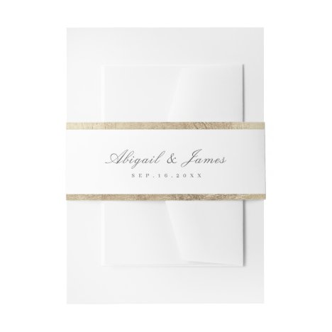 Faux gilded gold border simple wedding invitation belly band