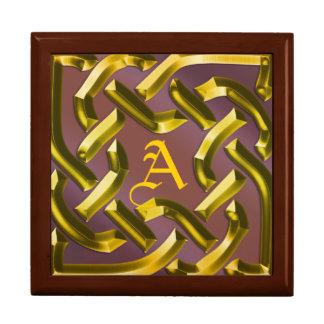 faux gilt knotwork monogram gift box