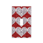 Faux Girly Red and Silver Glitter Hearts Switch Plate Covers