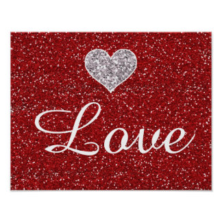 Faux Girly Red and Silver Glitter Hearts Poster