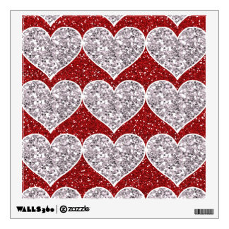 Faux Girly Red and Silver Glitter Hearts Wall Decal