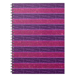 Faux Glitter and Sequin Pink and Purple Notebook
