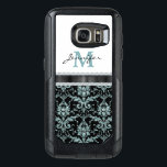 "Faux Glitter Aqua Damask Monogram OtterBox Samsung Galaxy S7 Case<br><div class=""desc"">Add a little bling to her life with this exquisite phone case featuring a pretty aqua teal and black damask pattern on the bottom of the case, and her monogram and name in matching teal and black on the top. The two sections are separated by a black faux ribbon bordered...</div>"