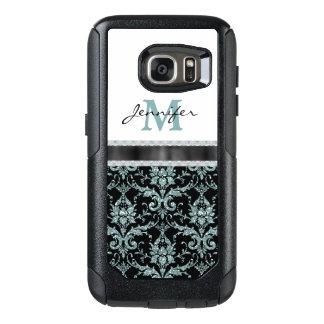 Faux Glitter Aqua Damask Monogram OtterBox Samsung Galaxy S7 Case