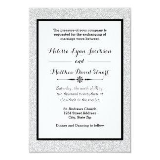 Faux Glitter & Black Framed-3x5 Wedding Invitation