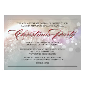 Faux Glitter Bokeh Stars Corporate Christmas Party Card