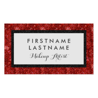 Faux Glitter Bold Black & Red Business Card