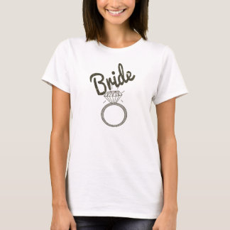 "Faux Glitter ""Bride"" Typography and Diamond Ring T-Shirt"