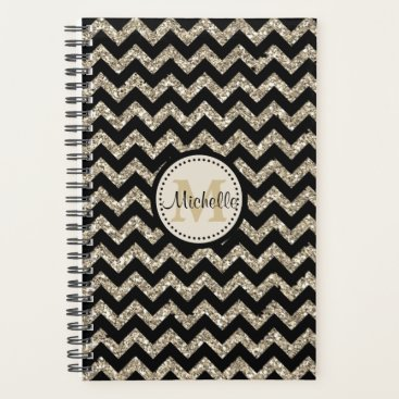 Professional Business Faux Glitter Chevron Gold Monogram Planner