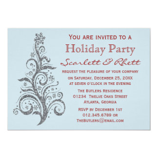 Faux Glitter Christmas Tree Holiday Party 5x7 Paper Invitation Card