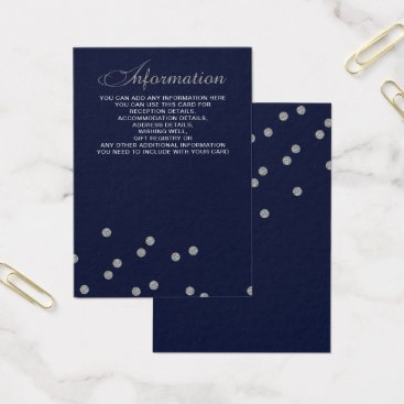FAUX Glitter confetti navy and silver wedding Business Card