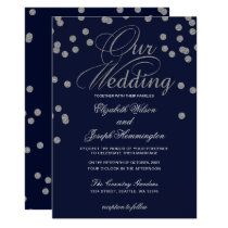 FAUX Glitter confetti navy and silver wedding Card