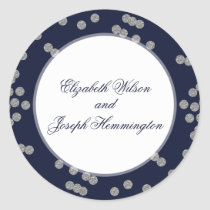 FAUX Glitter confetti navy and silver wedding Classic Round Sticker