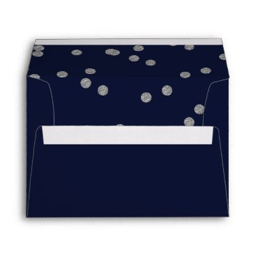 FAUX Glitter confetti navy and silver wedding Envelope