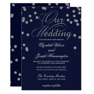 FAUX Glitter confetti navy and silver wedding Invitation