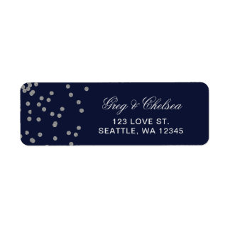 FAUX Glitter confetti navy and silver wedding Label