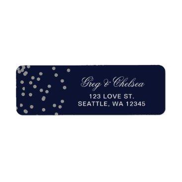 FAUX Glitter confetti navy and silver wedding Label