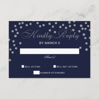 FAUX Glitter confetti navy and silver wedding rsvp