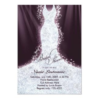 Faux Glitter Diamond Dress Bridal Shower Invite