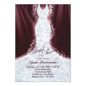 Faux Glitter Diamond Dress Bridal Shower Invite 5